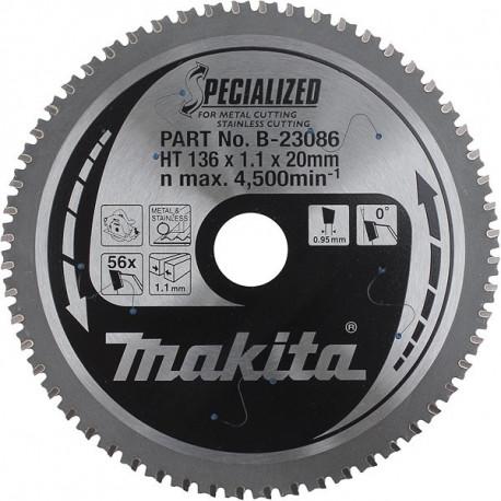 Lame carbure pour inox Ø 136 mm - 56 dents Makita B-23086