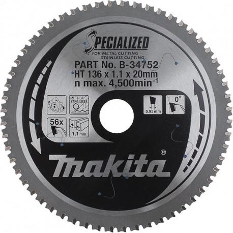 Pack de 3 lames carbure inox Ø 136 mm - 56 dents Makita B-34752