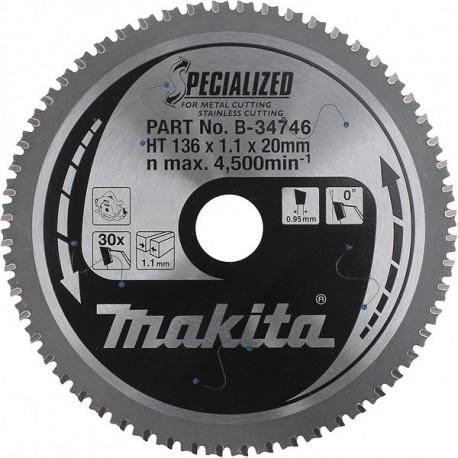 Pack de 3 lames carbure métal Ø 136 mm - 30 dents Makita B-34746