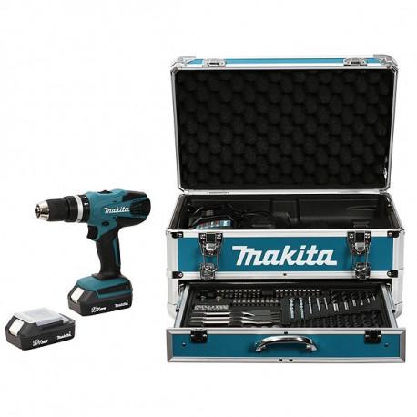 Perceuse visseuse à percussion sans fil Makita 18V Li-Ion 2x1,3Ah Ø13 mm + kit d'accessoires - HP457DWEX4