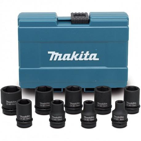 Coffret 9 douilles pour boulonneuses a choc 1/2'' Makita D-41517