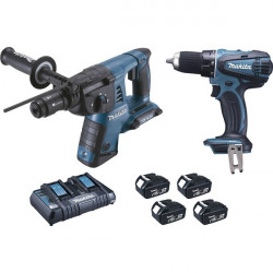 Lot perceuse et perforateur burineur Makita 18V et 36V Li-Ion 4x4Ah - DLX2099PMJ