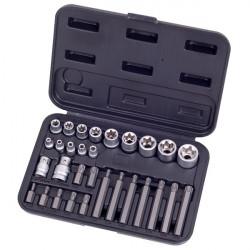 Coffret de douilles E4 à E20 et embouts Torx - 30 pièces HEXEL FE30