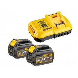 Pack de démarrage DeWALT FlexVolt 2 batteries 54V/18V 6Ah + chargeur rapide DCB118T2