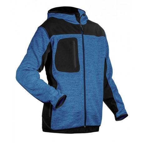 Veste tricot bi-matière BORA bleu chiné/noir - Coverguard 5BORB